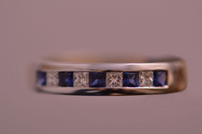 18ct White And Yellow Gold Vintage Half-Eternity Channel Set Ring With Sapphires And Diamonds