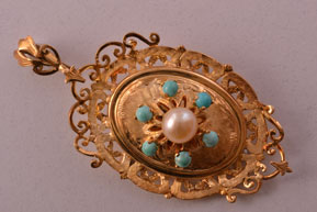 18ct Yellow Gold Vintage Brooch / Pendant With Turquoise And A Pearl