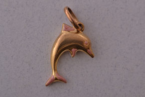9ct Yellow Gold Vintage Dolphin Charm With Enamel