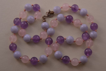 Vintage Necklace With Rose Quartz, Amethyst And Agate