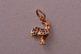 9ct Gold Vintage Portuguese Rooster Charm With Enamel