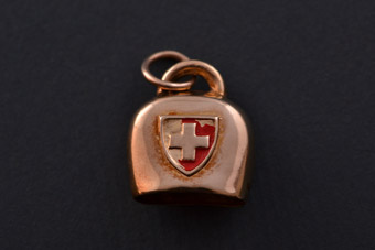 9ct Yellow Gold Vintage Swiss Cow Bell Charm With Enamel