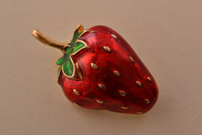 Gilt And Enamel Vintage Strawberry Brooch