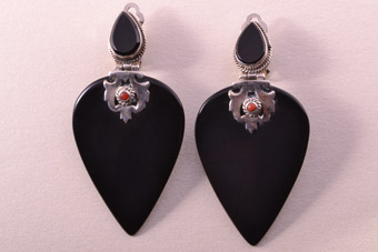 Silver Modern Clip On Drop Earrings With Onyx And Coral
