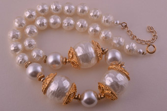 Necklace With Gilt And Faux Pearls