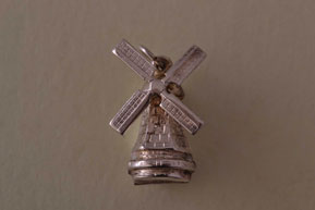 Silver Vintage Mechanical Windmill Charm