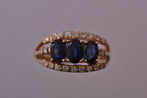 18ct Yellow Gold Vintage Trilogy Ring With Sapphires And Diamonds