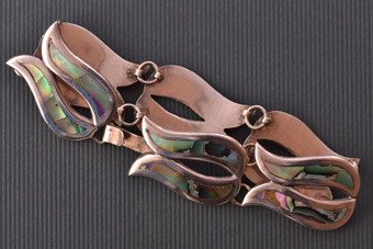 Silver And Abalone Retro Mexican Taxco Bracelet