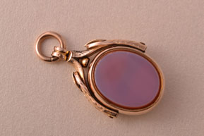 9ct Rose Gold Victorian Swivel With Bloodstone And Agate