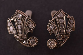 14ct White Gold Vintage Stud Fleur-Di-Lis Earrings With Old Cut Diamonds