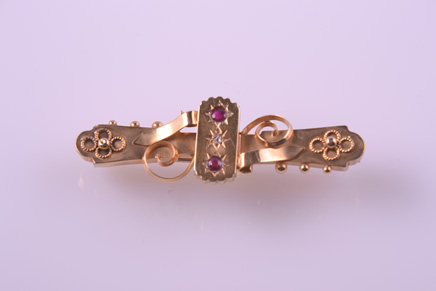 Gold Edwardian Etruscan Style Brooch With Diamond And Rubies