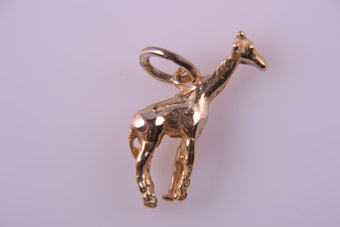 9ct Yellow Gold Modern African Giraffe Charm