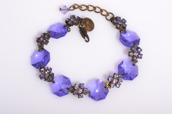 Modern Bracelet With Lilac-Coloured Crystals