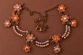 Modern Necklace With Amber-Coloured Paste