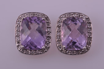 9ct White Gold Modern Earrings With Amethysts And Diamonds