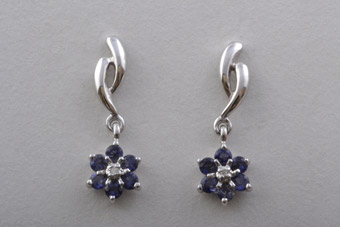 White Gold Modern Stud Drop Earrings With Iolite And Diamonds