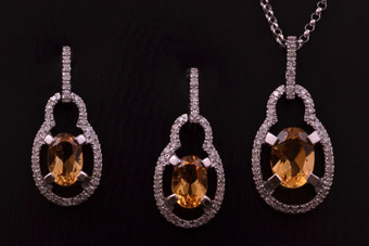 9ct White Gold Modern Set With Citrine And Diamonds