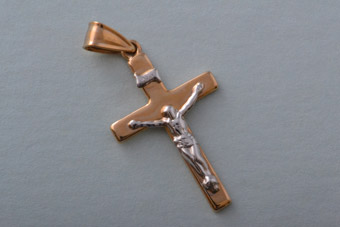 9ct Yellow And White Gold Modern Cross