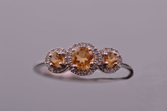 9ct White Gold Modern Ring With Citrines And Diamonds