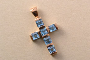 9ct Yellow Gold Modern Cross With Blue Topaz