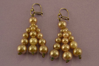 Vintage Pale Mink Hook Earrings With Faux Pearls