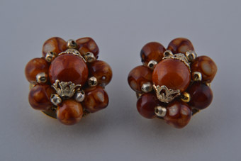 1960's Clip On Earrings With Rich Tawny Beads