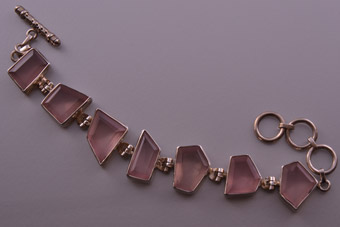 Silver Modern Bracelet With Faceted Rose Quartz