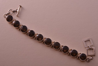 Silver Modern Bracelet With Pineapple Cut Smoky Quartz