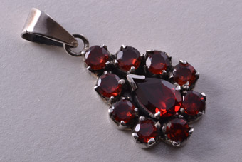 Modern Silver Pendant With Garnets