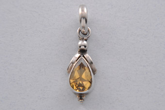 Silver Modern Pendant With Citrine