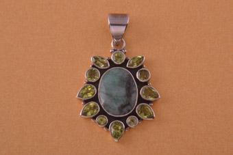 Silver Modern Pendant With Peridot And Green Stone