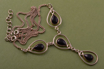 Silver Modern Necklace With Onyx