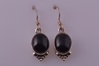 Silver Modern Hook Drop Earrings With Onyx
