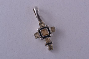 Silver Modern Cross With Citrine