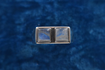 Silver Modern Ring With Moonstones