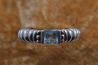 Silver Modern Ring With Blue Topaz