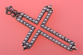 Silver Modern Cross With Seed Pearls