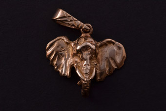 9ct Yellow Gold Modern Elephant Charm
