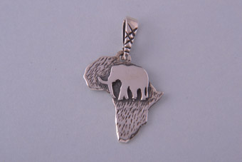 Silver Modern African Map Charm With An Elephant