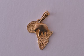 Modern 9ct Yellow Gold African Charm