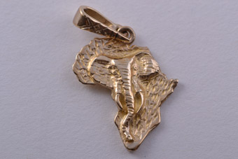 9ct Yellow Gold Modern African Charm