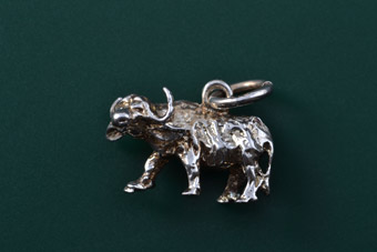 Silver Modern Buffalo Charm From Africa