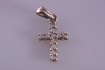 9ct White Gold Modern Cross With Diamonds