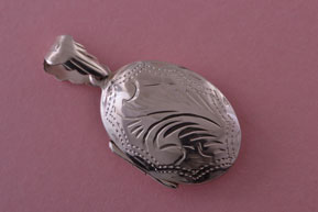 Modern Silver Opening Oval Locket