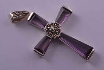 Silver Modern Cross With Marcasite And Glass