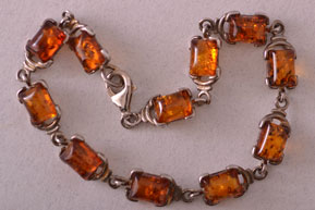 Modern Silver Bracelet With Amber