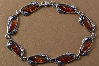 Silver Modern Bracelet With Amber