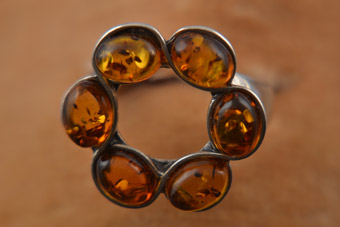 Silver And Amber Modern Ring