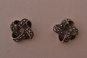 Silver Modern Stud Earrings With Marcasite