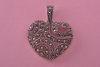 Silver Modern Heart Pendant With Marcasite